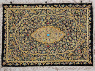 Wall Hanging Jewel Carpet Decorative Rug w/ Semi Precious Stonework Huge, India