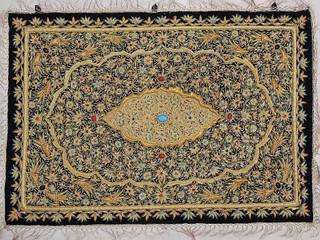 Wall Hanging Jewel Carpet Decorative Rug w/ Semi Precious Stonework Huge, India