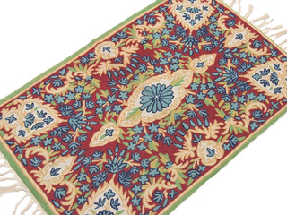 Floral Rug Kashmir Handicraft Chain Stitch Embroidery Wall Decor Tapestry Gift