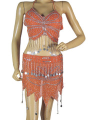 Orange Belly Dancer Costume Halter Bra Hip Scarf Handmade Dress Clothing M