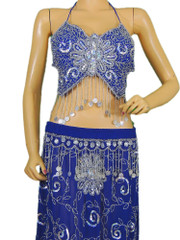 Blue Belly Dancer Costume Clothing Stylish Fancy Coin Beaded Bra Wrap Dress S