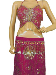 Magenta Belly Dance Dress Beaded Professional Costume Bra Long Skirt Apparel S