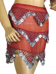 Red Professional Hip Scarf Wrap Belly Dance Costume