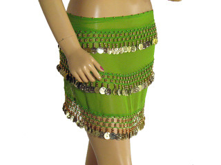 Green Wrap Hip Scarf Belly Dance Costume Coin Belt