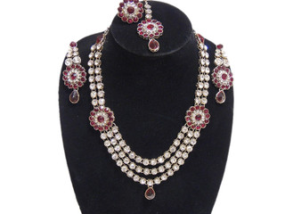 Fashion Jewelry Set India Red Long Kundan Necklace Bollywood Rajasthani Earrings