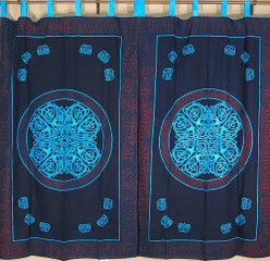 Celtic Tab Top Curtains Cotton Block Print Fabric Indian Style Window Coverings