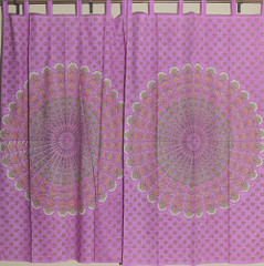 Mauve Printed Cotton Curtains from India w/ Floral and Peacock Tail Fan Pattern
