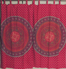 Maroon and Orange Block Print Mandala Elephant Patterned Indian Window Curtains