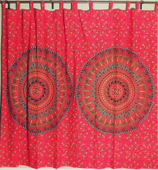 Beautiful Red Cotton Block Print Ethnic Traditional Mandala Window Door Curtains