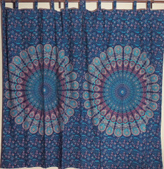 Decorative Indian Mandala Curtains Panels Blue Cotton Fabric Window Coverings