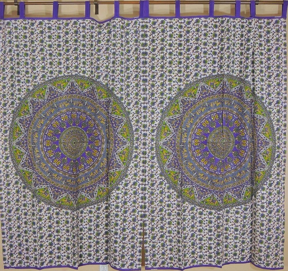 Mandala Tab Top Curtains India Home Decor Cotton Fabric Elephant