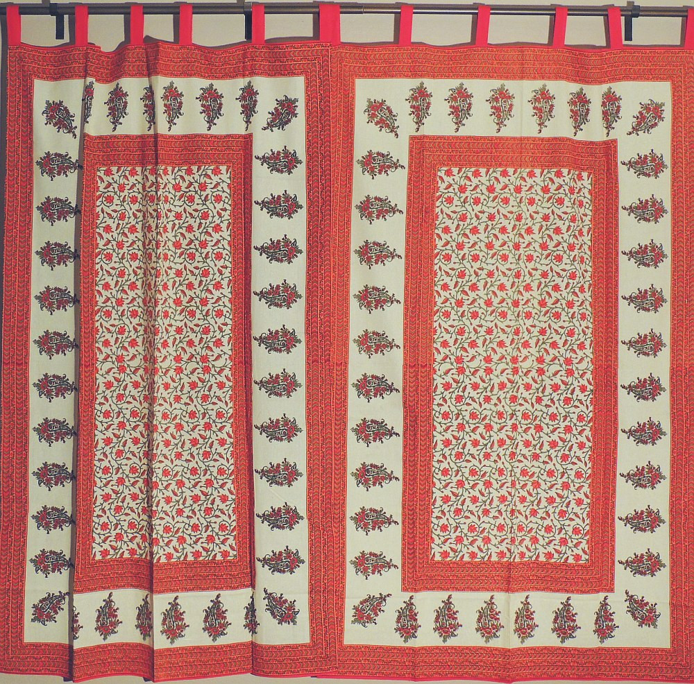 Delightful Orange Floral Print Tab Top Cotton Indian Window Curtains 82in Paisley  Border.