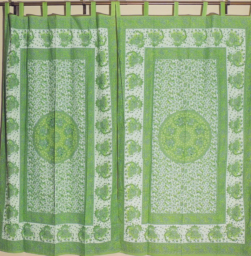 Green indian curtains - Green Indian Curtains Decorative Unique Elephant Pattern Green Indian Handmade Indoor Window Curtains