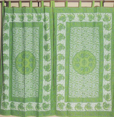 Decorative Unique Elephant Pattern Green Indian Handmade Indoor Window Curtains