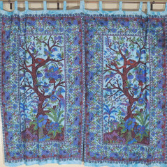 Blue Linen Indian Curtains Exotic Decorative Tree of Life Window Treatments
