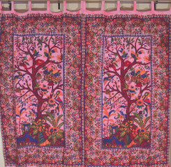 Eclectic Ethnic India Decor Tree of Life Cotton Window Door Curtains Coverings