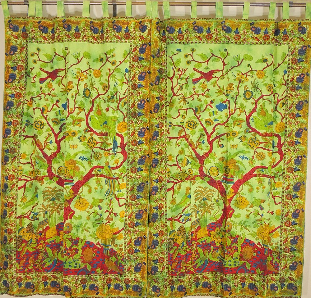 Green indian curtains - Stylish Green Window Treatments Tree Of Life Patterned Indian Cotton Curtains