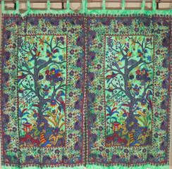 Cotton Fabric Indian Curtains Tree of Life Print Window Treatments Door Panels