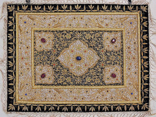Kashmir Jewel Carpet – Decorative Wall Hanging Handicraft with Zardozi Work