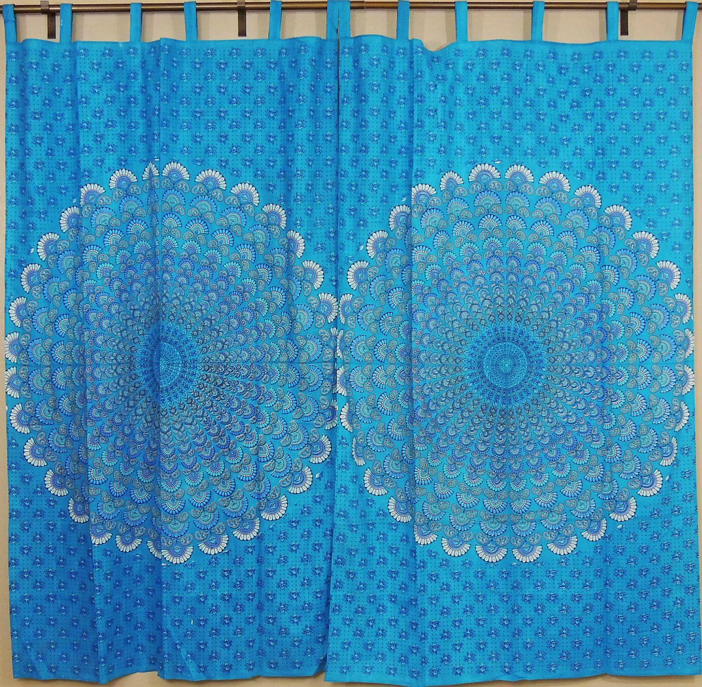 Peacock Curtains Blue Indian Cotton Window Panels With Tail Fan Pattern Print
