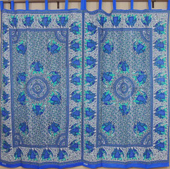 Block Print Indian Curtains – Eclectic Blue and Teal Elephant Decorative Panels