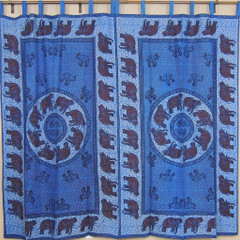 Indian Blue Curtains – Tab Top Cotton Fabric Tab Top Window Panels for Bedroom