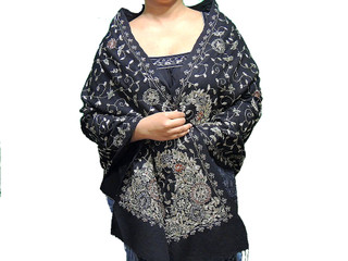 Black Shawl – Beautiful Designer Ladies Gold Zari Hand Embroidered Fashion Wrap