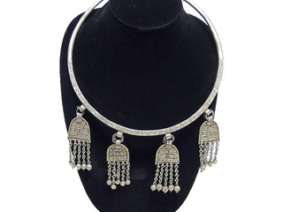 Belly Dancer Accessory – Handcrafted Metal Long Pendants Neck Ring Necklace