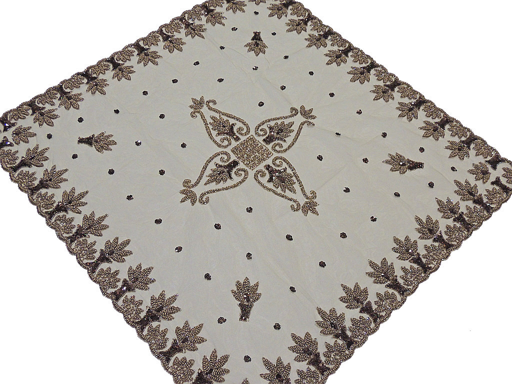 Perfect Wedding Table Linens U2013 Beige Net Fabric Hand Beaded Exclusive Tablecloth    India.