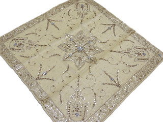 Organza Overlays – Gold Sequin Traditional Indian Tablecloth – Artisan Handmade