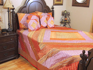 India Inspired Bedding – Zari Patchwork Multicolor Paisley Designer Duvet Set