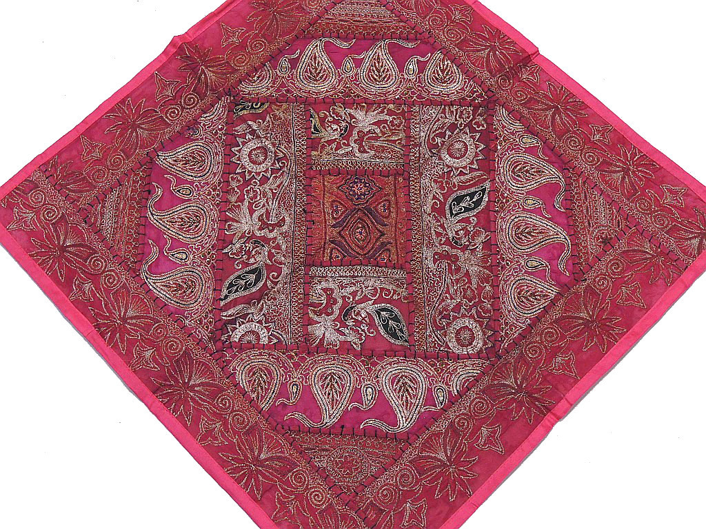 Large Square Floor Cushion Cover ? Pink Zari Embroidered Accent Pillow: NovaHaat