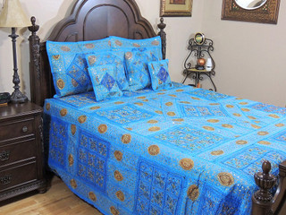 India Inspired Duvet Set Handmade Bedding 7P Blue King Bedspread New Home Gift