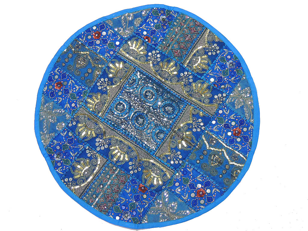 Round Floor Pillow Blue : Round Floor Pillow ? Blue 26-inch Sari Sequin Work Stylish Cushion Cover: NovaHaat