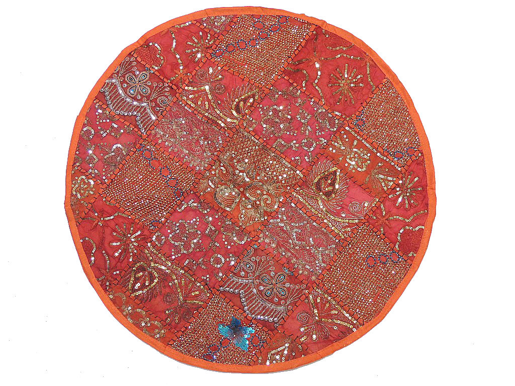 Decorative Round Pillow ? Orange Sequin Patchwork Indian Cushion Cover: NovaHaat