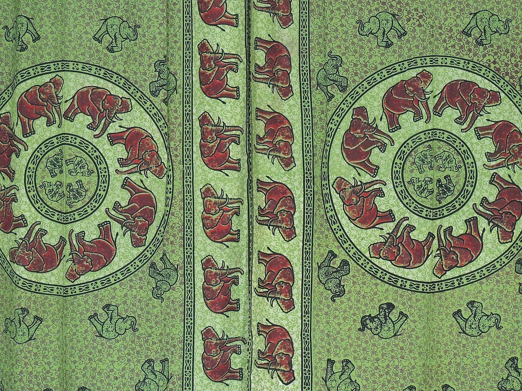 Green indian curtains - Green Cotton Curtains Elephant Block Print Indian Style Tab Top Panels Image 2
