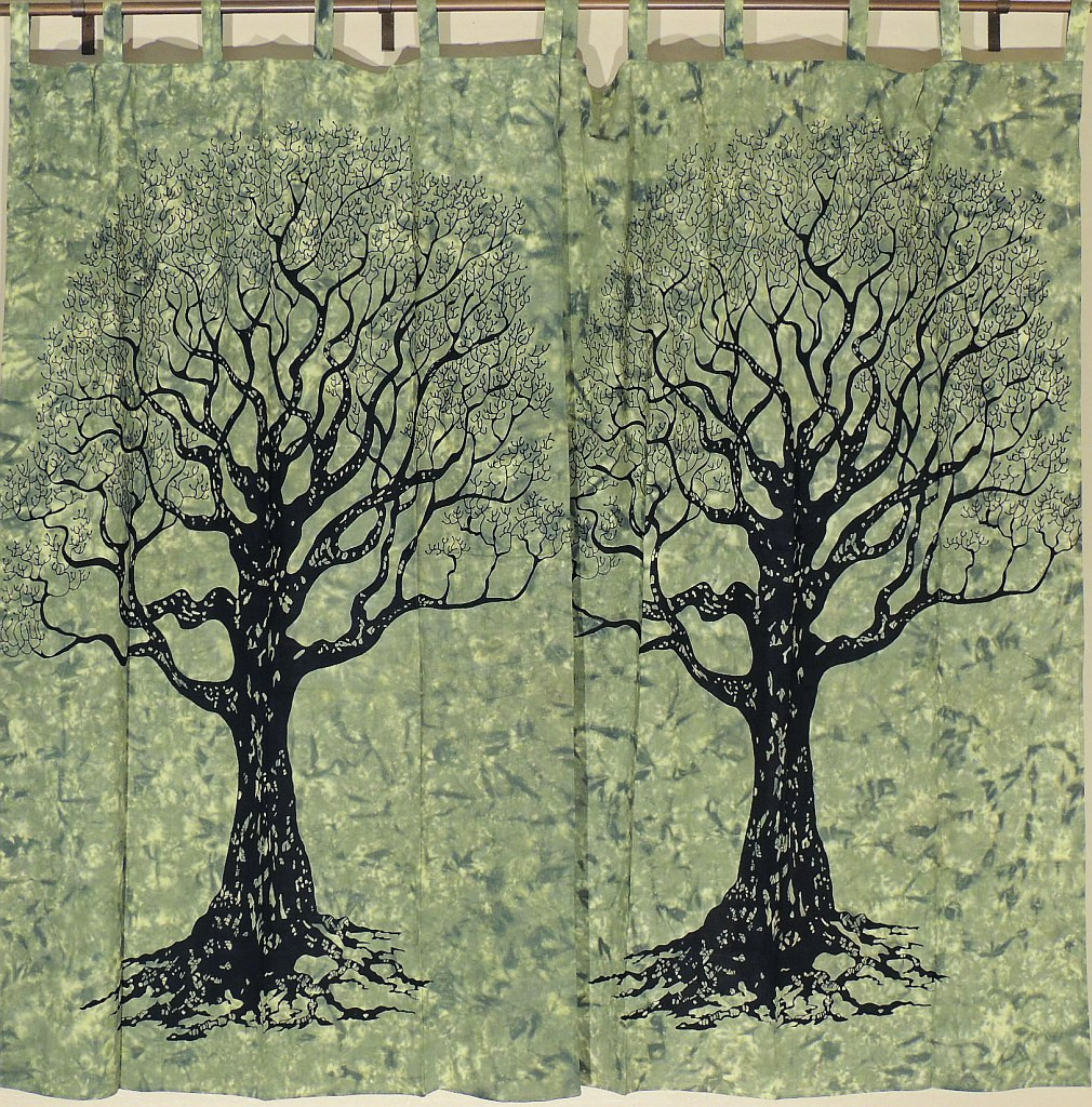 Tree Of Life Curtains   Green Cotton Print Indian Tab Top Panels Pair.