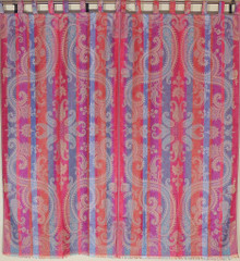 Beautiful Indian Curtains – Large Paisley Woven Designer Tab Top Panels