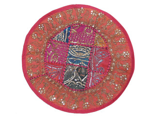 Pink Round Throw Pillowcase - Stylish Accent Indian Cushion Cover