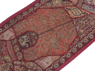 Exclusive Wall Hanging - Burgundy Indian Beaded 60-inch Long Tapestry