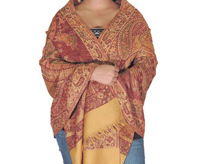 Unique Evening Wrap - Goldenrod Reversible Wool Woven Shawl