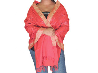 Indian Embroidered Shawl - Red Beaded Wool Fashion Wrap