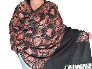 Indian Embroidered Shawl - Black Large Evening Wrap with Floral Patterns