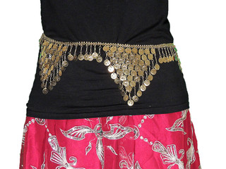 Gold Coin Belt - Ladies Belly Dance Waistband Chain Design