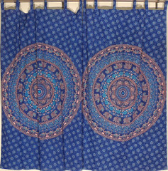 Blue Cotton Curtains - Mandala Window Treatment Panels
