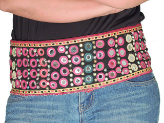 Belly Dancing Belts - Embroidered Mirror Work Handmade Ladies Accessory