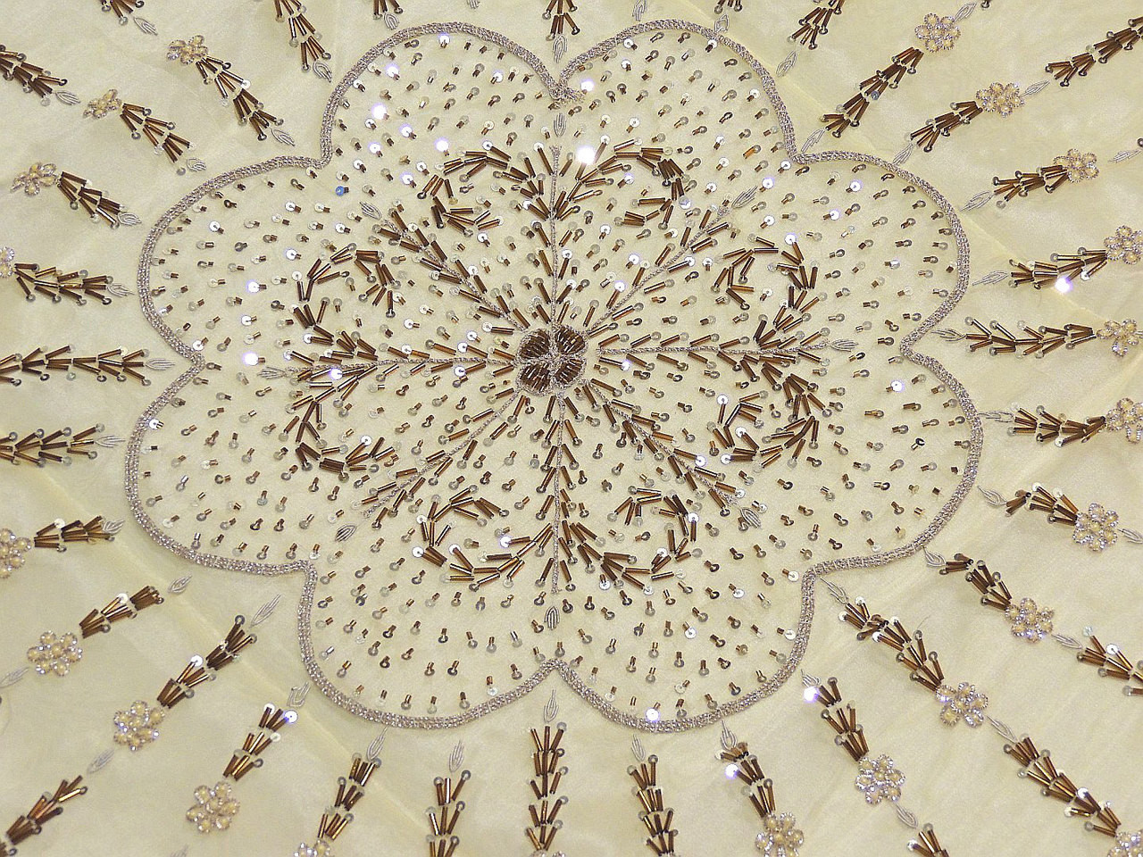 Beaded Indian Table Linens   Cream Organza Fabric 40 Inch Overlay; Image 2;  Image 3; Image 4
