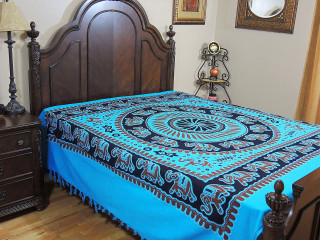 Blue Cotton Bedspread - Full Size Elegant Elephant Print Quality Bedding