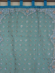 Beaded Curtains - Blue Handmade Zardozi Indian Window Treatments 92 inch