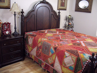 Embroidered India Inspired Bedding Decorative Handmade Kutch Bedspread Bed Cover